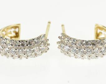 14k 0.50 Ctw Pave Diamond Encrusted Semi Hoop Earrings Gold