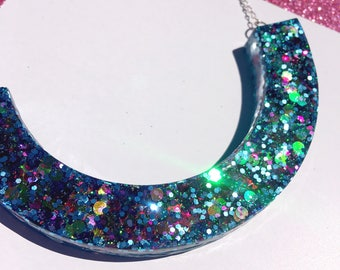BRING THE THUNDER peachish handmade glitter resin scoop necklace statement piece perfect for colourful glitter lovers & festival