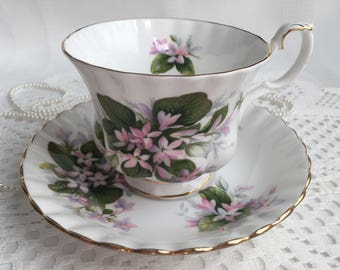 Royal Albert Bone China Tea Cup and Saucer, Mayflower, Pink and White Floral with Gold Trim