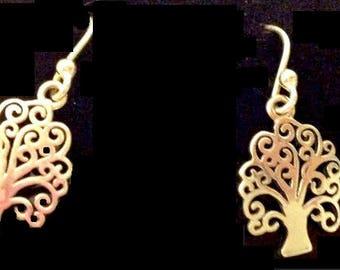 sterling tree of life earrings petite dangling filigree trees gustav klimt style adorable