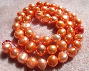 Orange Freshwater Pearls, Potato Pearls, Pearl Strand, Loose Pearls, Cultured Genuine Pearls, Quality Pearls, Jewelry Supplies, Real Pearls