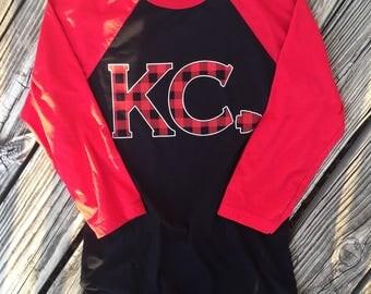 Kansas City KC Chiefs t-shirt Buffalo plaid baseball tee
