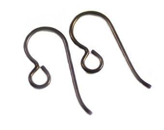 Niobium Copper Color Dark Brown Hypoallergenic Ear Wires with Loop