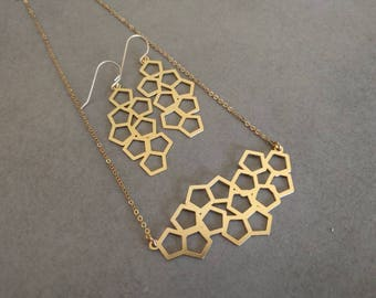 Gold Geometric Necklace, Gold Necklace & Earrings Set, Geometric Jewelry, Statment Necklace, Dangle earrings, Gift ...