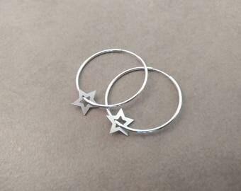Silver Star Earrings, Hoop Earrings, Silver Hoops Earrings, hoop earrings, Silver hoops, Silver earrings, Tiny Stars Earrings, Silver Hoop