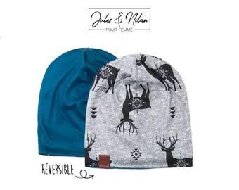 Fall  reversible slouchy beanie- Deer/Blue