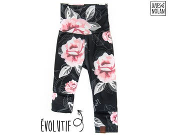 Girl evolutive leggings / Pink flowers