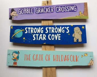 Custom Illustrated Signpost, Set of 3, arrow sign, arrow signs, directional sign, directional signs, mile marker sign, mileage signs