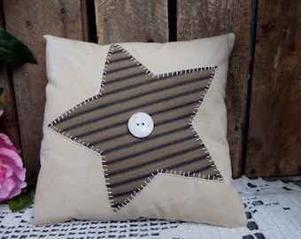 Primitive Ticking Stripe Star Pillow, Rustic Pillow Tuck, Country Accent, Country Decorating, Farmhouse Pillow, Cupboard Tuck, Small Pillow