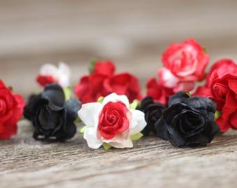Red Wedding Flower Hair Pins Black Bridal Hair Bobby Pins Wine Wedding Flower Crown Bobby Pin Prom Floral Hair Pick Bridesmaids Gift 2017