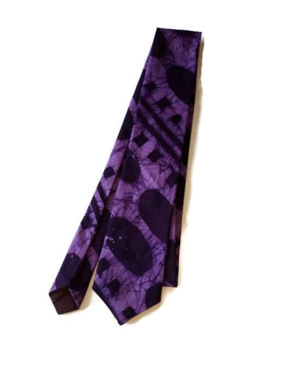 Purple Batik African Print NeckTie And Pocket Square