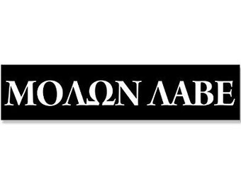 Black Molon Labe 2x9 Gun Bumper Sticker