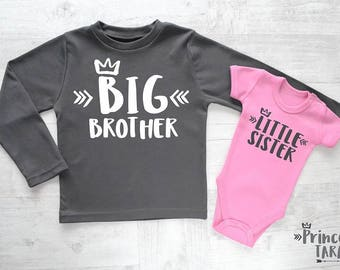 Big Brother Little Sister Set. Matching Sibling Set. Big Brother Little Sister. Big Brother Announcement. Little Sister Baby Outfit.