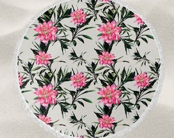 Tropical flowers over-sized round beach towel