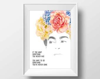 Frida Kahlo print, cool posters, frida kahlo art, feminist art, inspiration quotes, frida kahlo poster, DIY room decor, word art
