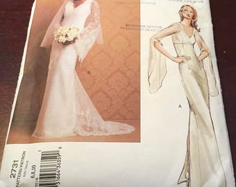 Vogue Bridal Original  2731  Sewing Pattern Wedding Gown  Lined Dress Floor Length Fitted Bodice Princess Seams Semi Fitted  Size 6 8 10