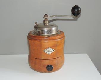 Original wood coffee grinder vintage round shape