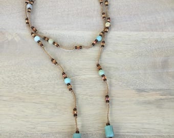 "Amazonite Gemstone, Honey Faceted Crystal and Seed Bead Lariat Necklace Gold Crochet Knotted Cord Amazonite Drop ""Honey"""