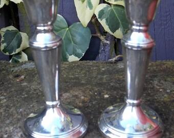 Pair Of Silver Candlesticks Birmingham 1988
