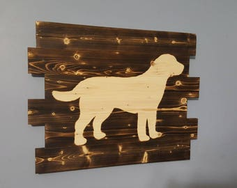 Labrador Retriever, Wooden Rustic Wall Art- black lab, chocolate lab, yellow lab