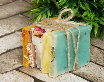 Soap samples gift for her, Mother's day gift, bath gift, natural handmade soaps, 5 soap bar samples