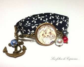 Dome UP •PIN... fabric blue and white bracelet •