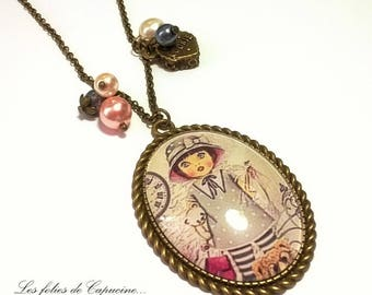 Maxi necklace long oval CABOCHON toys from our childhood • •
