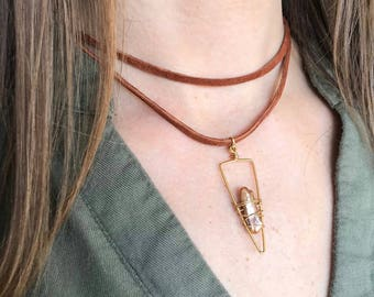 Brown pearl double choker