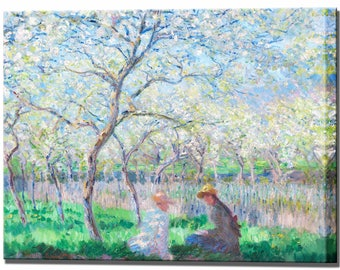 Monet Wall Art Canvas Print - Springtime in 4 Sizes Ready To Hang