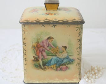 RESERVED FOR HANAN! Lovely Vintage  Tin, Canister with Courting Couple, Flower and Bird of Paradise Decor