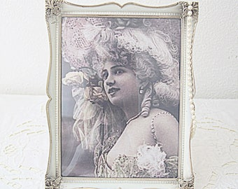 Vintage Large Silver Plated and Enameled Ornate Photo Frame, Bulb Glass