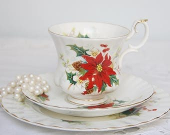 Vintage Royal Albert Bone China 'Poinsettia' Tea Trio, Cup and Saucer and Pastry Plate, Chistmas, England
