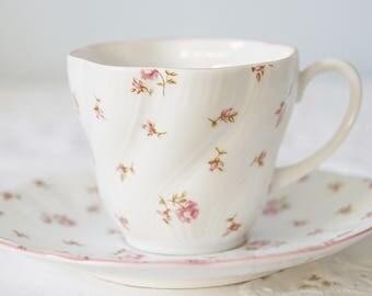 Lovely Vintage Queens Rosina 'Fleur' Demitasse Size Cup and Saucer, Pink Rose and Rosebud Decor, England