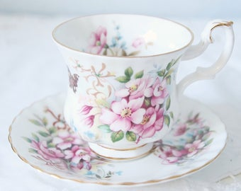 Vintage Royal Albert Bone China Country Life Series 'Sweet Briar' Cup and Saucer, Lady Size, England