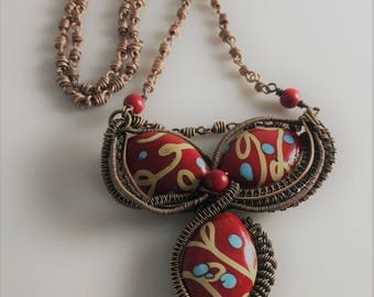 Handmade Copper Pendant & Chain With Glass Beads
