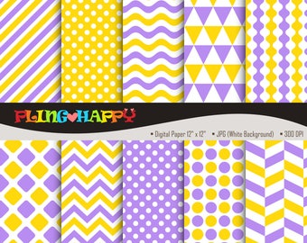70% OFF Yellow And Medium Slate Blue, Chevron/Polka Dot/Wave/Stripe Pattern Graphics, Personal & Small Commercial Use, Instant Download