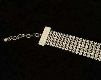 Givenchy Vintage 1970's Mesh Silver Tone Disco Choker Necklace