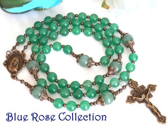 Vintage style Catholic rosary for men and women, green Aventurine gemstone rosary, Catholic gift for men and women, Marian Consecration