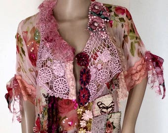 Art to wear,romantic  feminine tunic ,baroque  influence