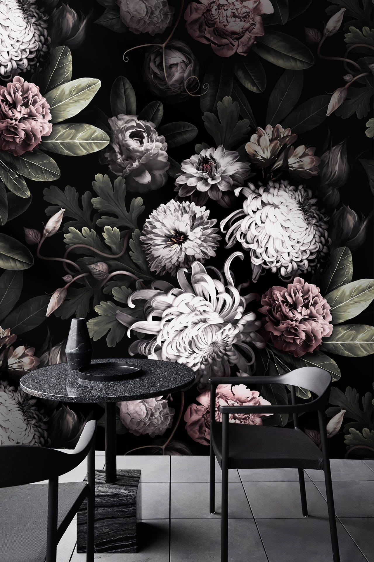 dark floral wallpaper - dark flowers wallpaper