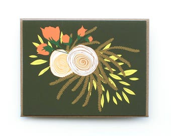 Card, Floral Card, Blank card, Multi-Purpose card, All Occasion Greeting Card, Boho Card, White and pink roses and yellow leaves