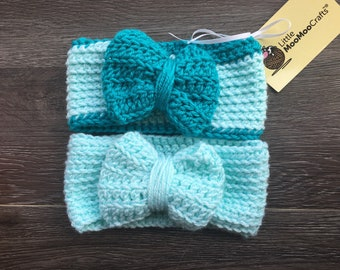 Beautiful in Blues headband set, headbands, summertime, baby gift, turquoise, teal, baby photos, sparkly headband, set of 2, bow, crochet