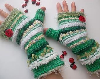 Women XL 20% OFF Fingerless OOAK Mittens Gloves Hand Knitted Striped Warm Accessories Gift Elegant Feminine Wrist Warmers Winter Arm 1205