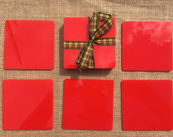 Acrylic Coasters, Hard Colours, Red, Black, Pink, Yellow, Green, Blue, Ivory, Household Gifts, Coasters, Fun Coasters, Barware, Drinkware.