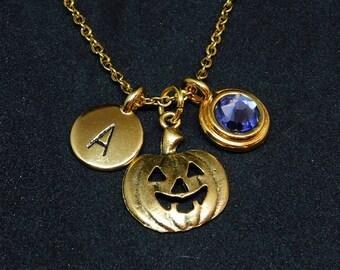 Golden Pumpkin necklace, swarovski birthstone, initial necklace, birthstone necklace