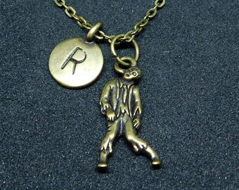 Bronze Zombie with Initial necklace, initial charm, zombie charm, zombie pendant, Halloween charm