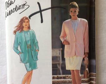 Vintage 1991 UNCUT Simplicity 7443 Misses Size 4, 6, 8, 10, and 12 Blouse, Skirt, and Lined Jacket Pattern