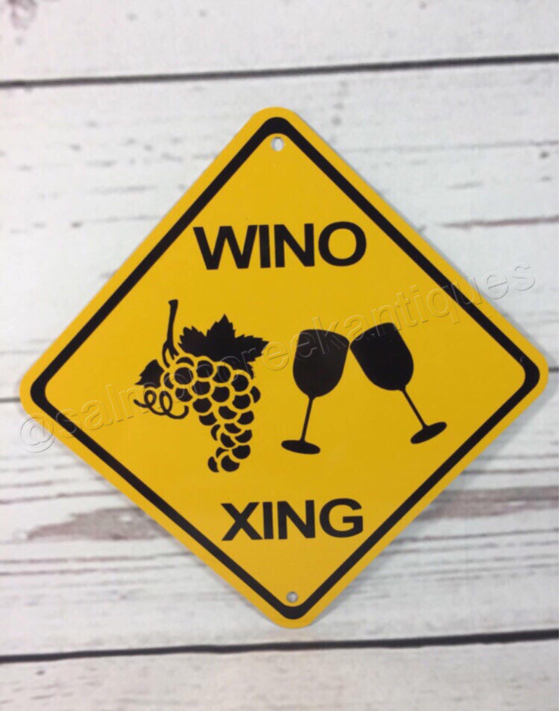 wino xing mini metal yellow caution wine crossing sign