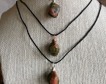 Simple Unakite Neckle (silver ir copper)
