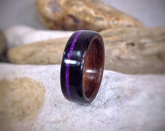 Rosewood & Ebony Bent Wood Ring with Sugilite Inlay - Made to order - All US and UK Ring Sizes